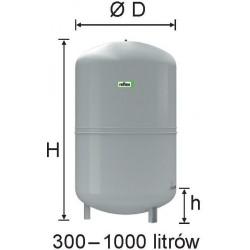 Ciśnieniowe naczynie przeponowe do układów grzewczych i chłodniczych typu N-300 6 BAR