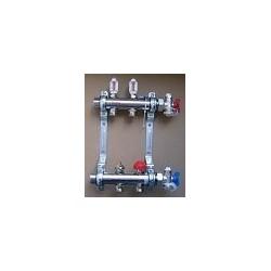 Rozdzielacz UFH 12-obiegowy ze stali nierdzewnej z zaworami do regulacji przepływu +Rotametr
