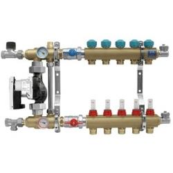 """Rozdzielacz na profilu 1"""" do ogrzewania podłogowego z układem mieszającym z przepływomierzami (seria 77E) - 10"""