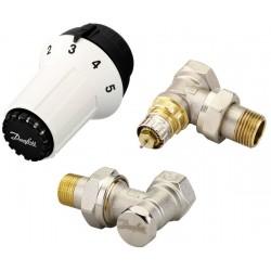 Zestaw termostatyczny DANFOSS PANDA RA kątowy (głowica PANDA + zawór termostatyczny + zawór powrotny) 013G5163