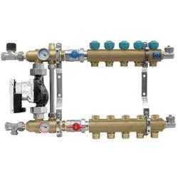 """Rozdzielacz na profilu 1"""" do ogrzewania podłogowego z układem mieszającym z przepływomierzami (seria 77E) - 6"""