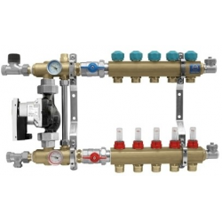 """Rozdzielacz na profilu 1"""" do ogrzewania podłogowego z układem mieszającym z przepływomierzami (seria 77E) - 5"""